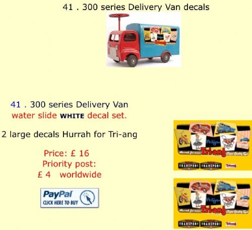 41 . Tri-ang 300 series Delivery Van decals